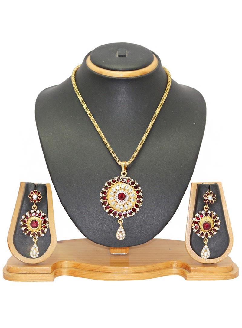 Maroon Alloy Austrian Diamonds Necklace With Earrings 65961
