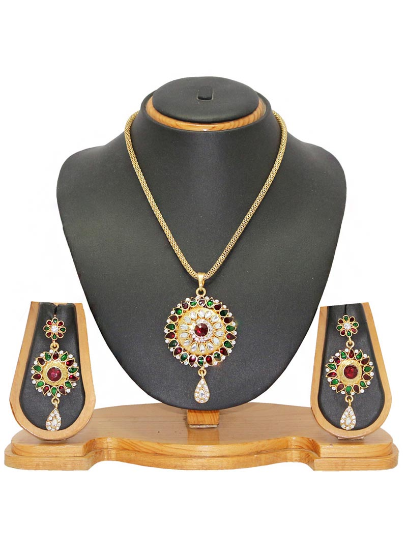 Maroon Alloy Austrian Diamonds Necklace With Earrings 65962