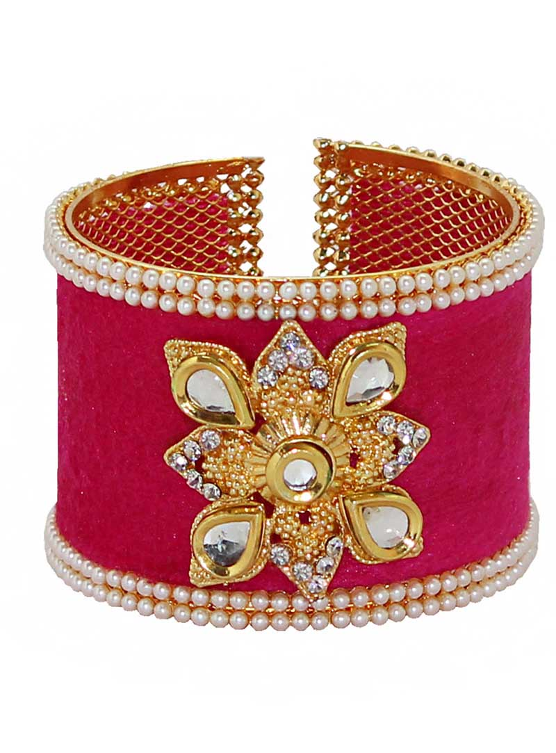 Dark Pink Alloy Austrian Diamonds Bangle 65964