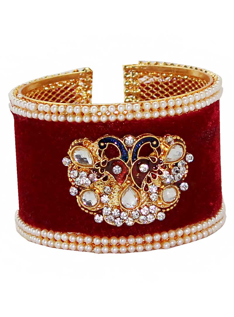 Maroon Alloy Austrian Diamonds Bangle 65973