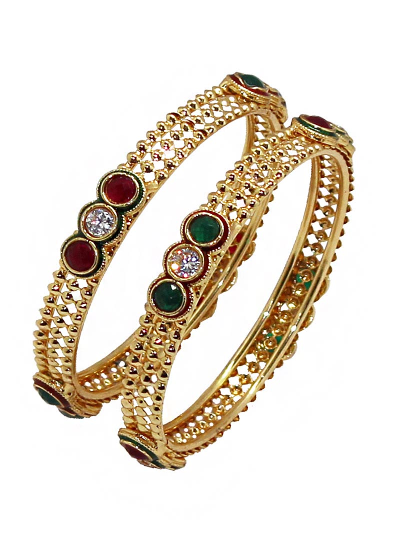 Maroon Alloy Austrian Diamonds Bangle 66003