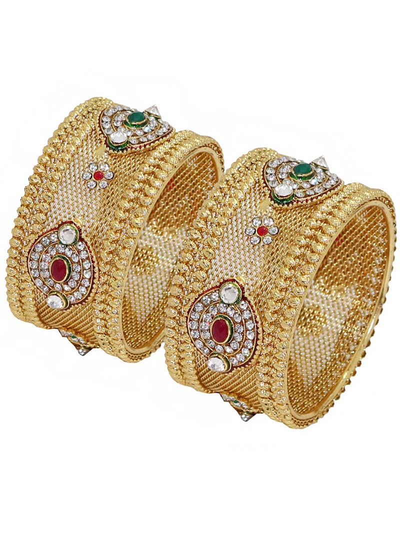 Maroon Alloy Austrian Diamonds Bridal Wear Bangle 66010