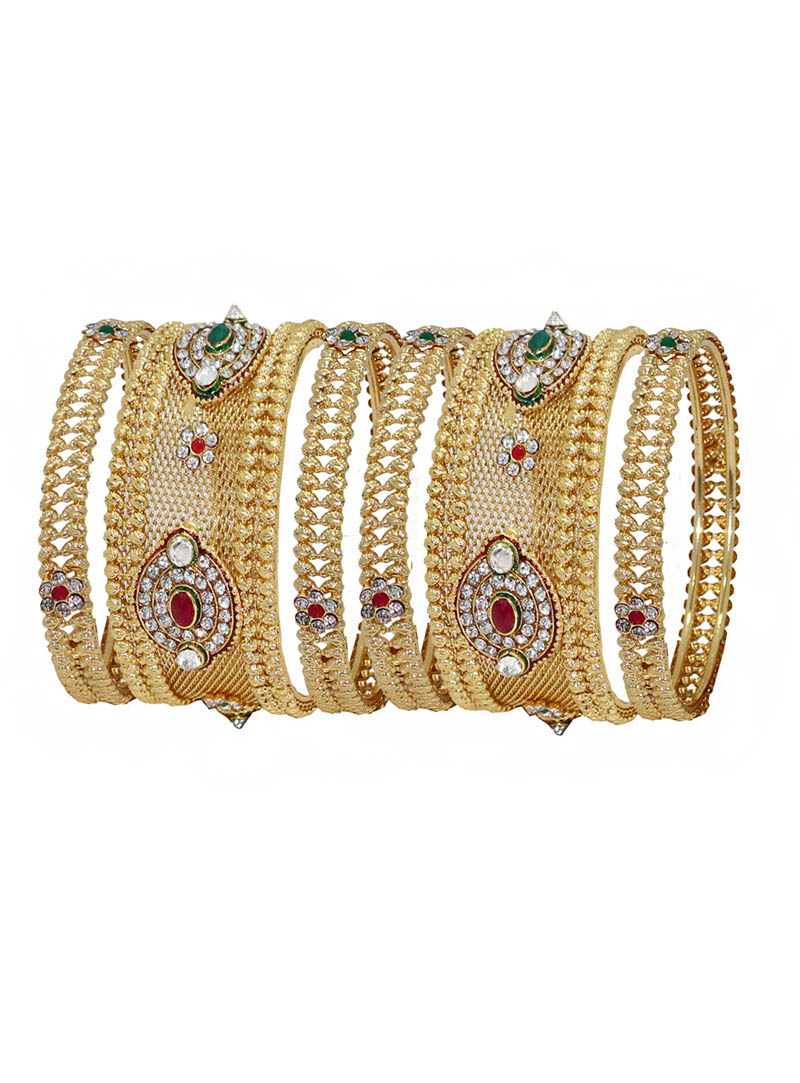 Maroon Alloy Austrian Diamonds Bridal Wear Bangle 66012