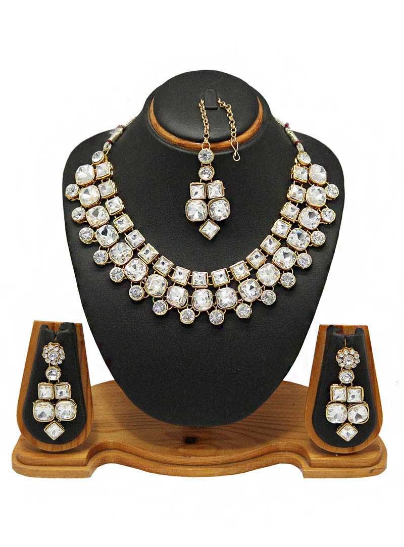 White Alloy Zircon Diamonds Necklace With Earrings and Maang Tikka 66013
