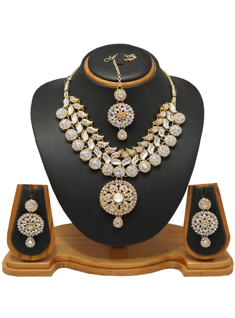 White Alloy Austrian Diamonds Necklace With Earrings and Maang Tikka 66014