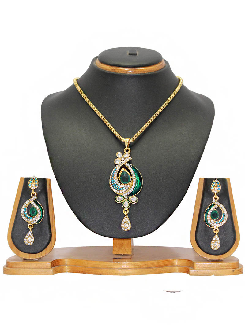 Green Zinc Austrian Diamonds Necklace With Earrings 66016