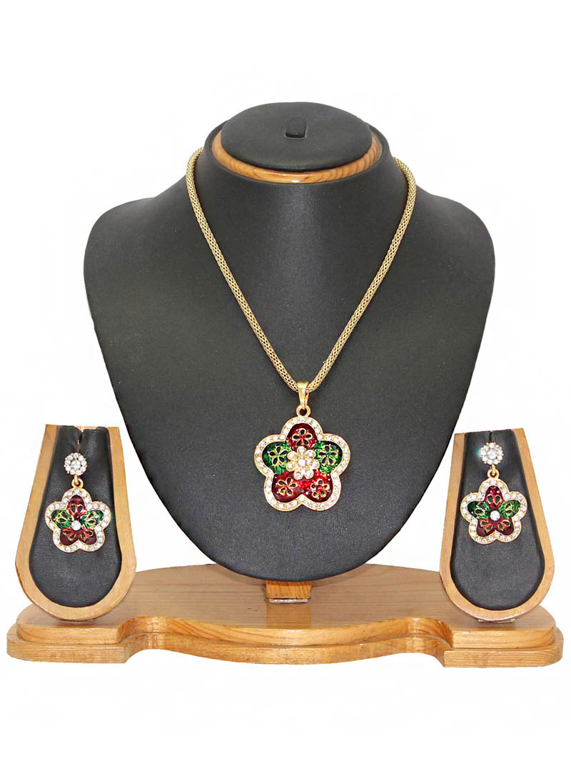 Maroon Zinc Austrian Diamonds Necklace With Earrings 66040