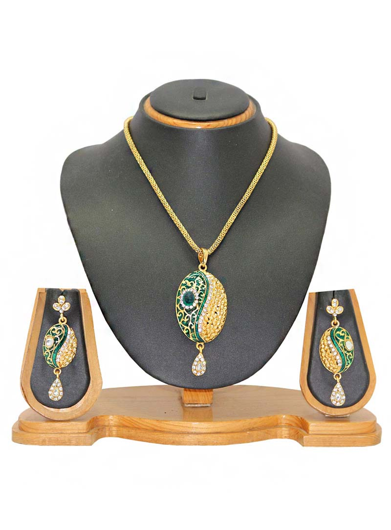 Green Zinc Austrian Diamonds Necklace With Earrings 66052