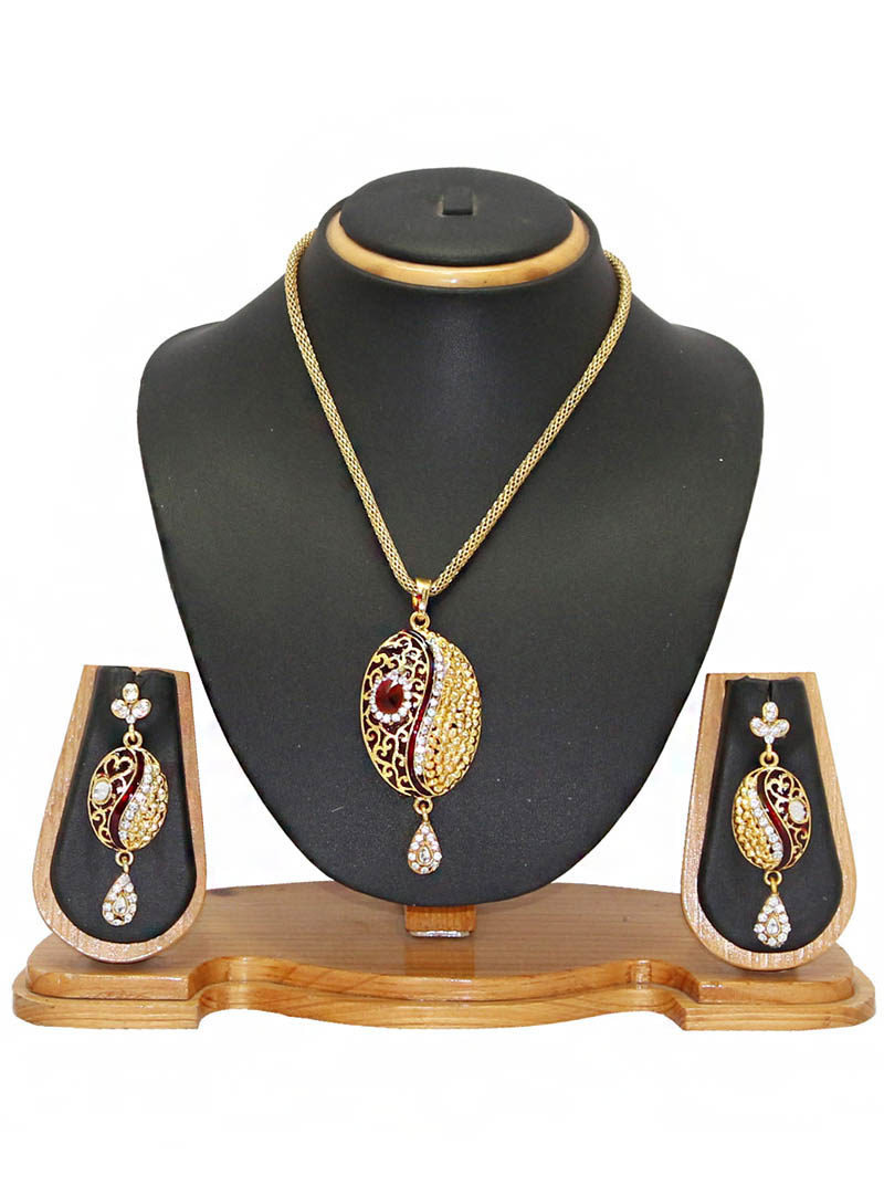 Maroon Zinc Austrian Diamonds Necklace With Earrings 66054