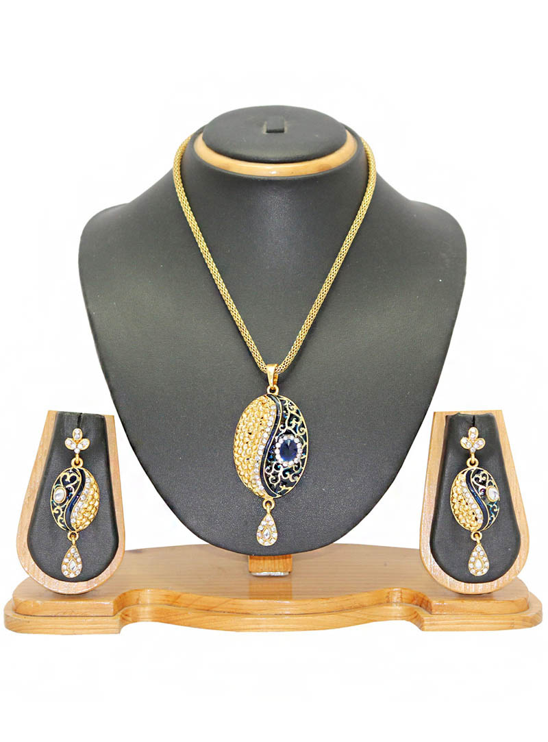 Blue Zinc Austrian Diamonds Necklace With Earrings 66056