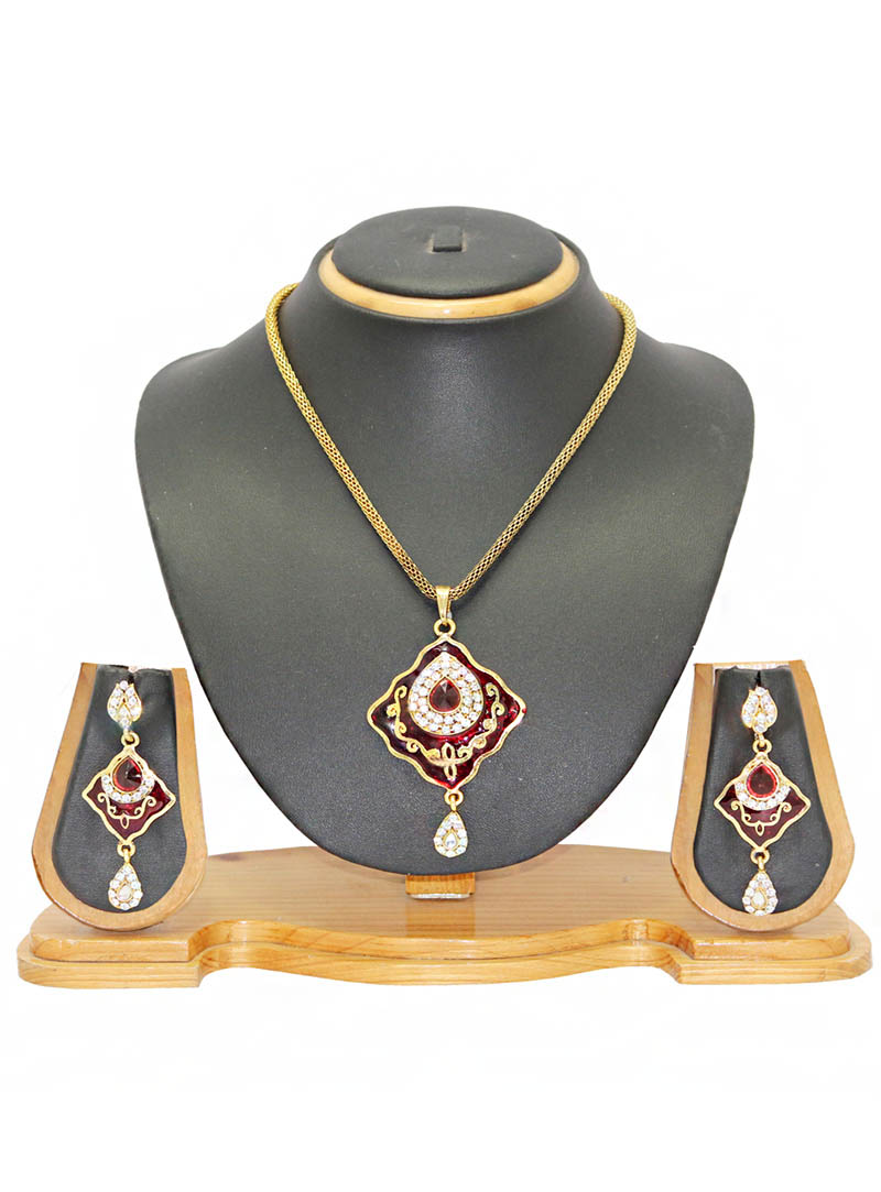 Maroon Zinc Austrian Diamonds Necklace With Earrings 66060