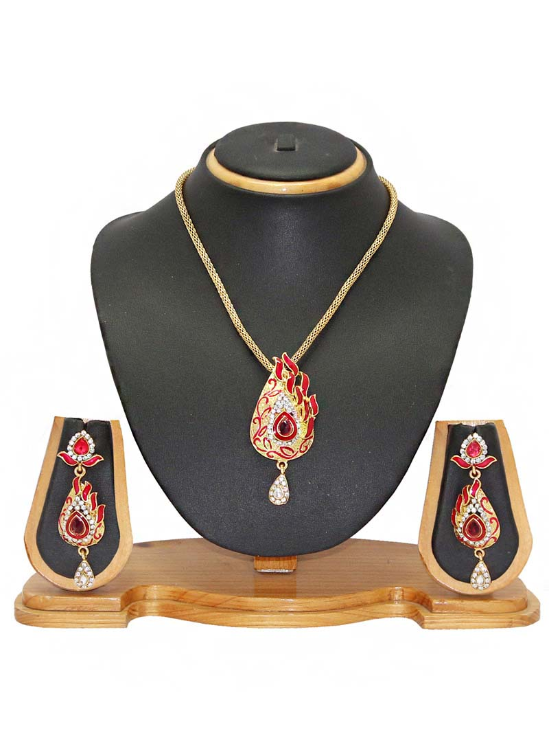 Red Zinc Austrian Diamonds Necklace With Earrings 66063
