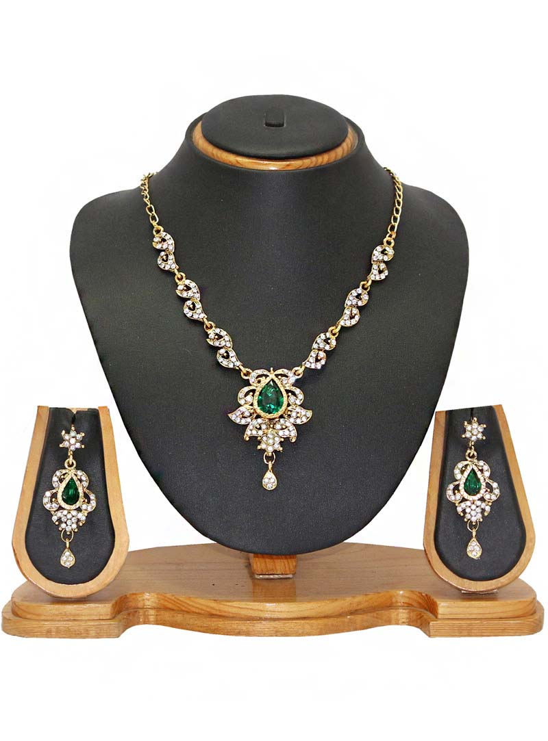 Green Zinc Austrian Diamonds Necklace With Earrings 66087
