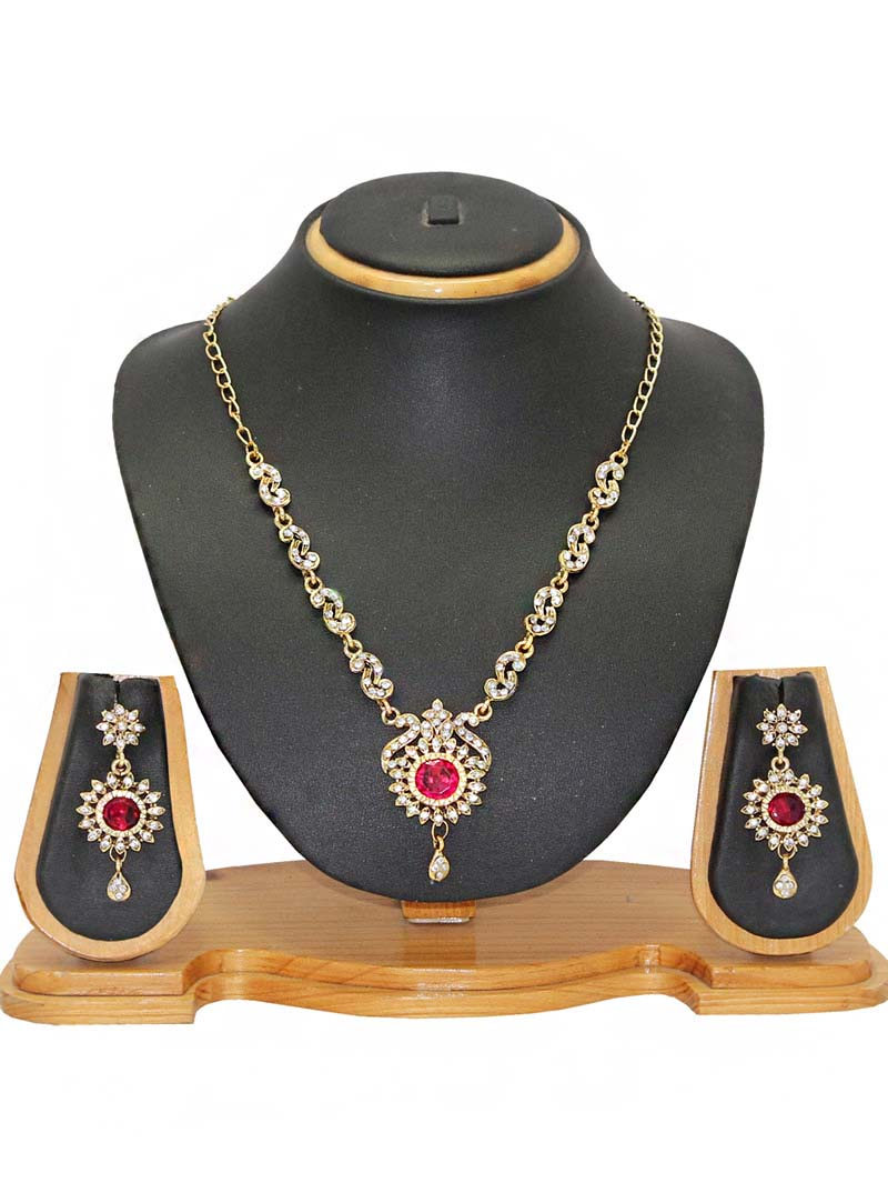 Pink Zinc Austrian Diamonds Necklace With Earrings 66089