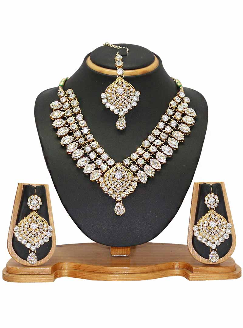 White Alloy Austrian Diamonds Necklace With Earrings and Maang Tikka 66091