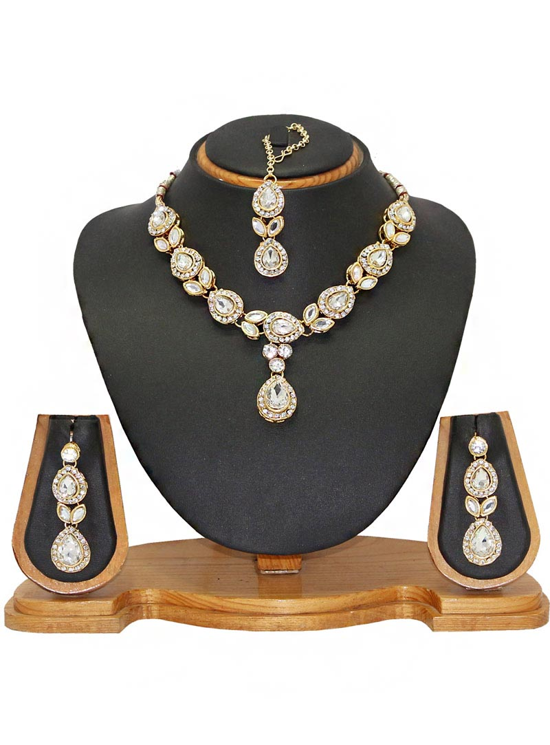 White Alloy Austrian Diamonds Necklace With Earrings and Maang Tikka 66092
