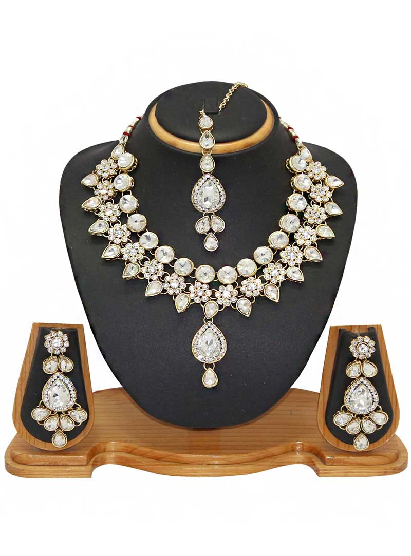 White Alloy Austrian Diamonds Necklace With Earrings and Maang Tikka 66093