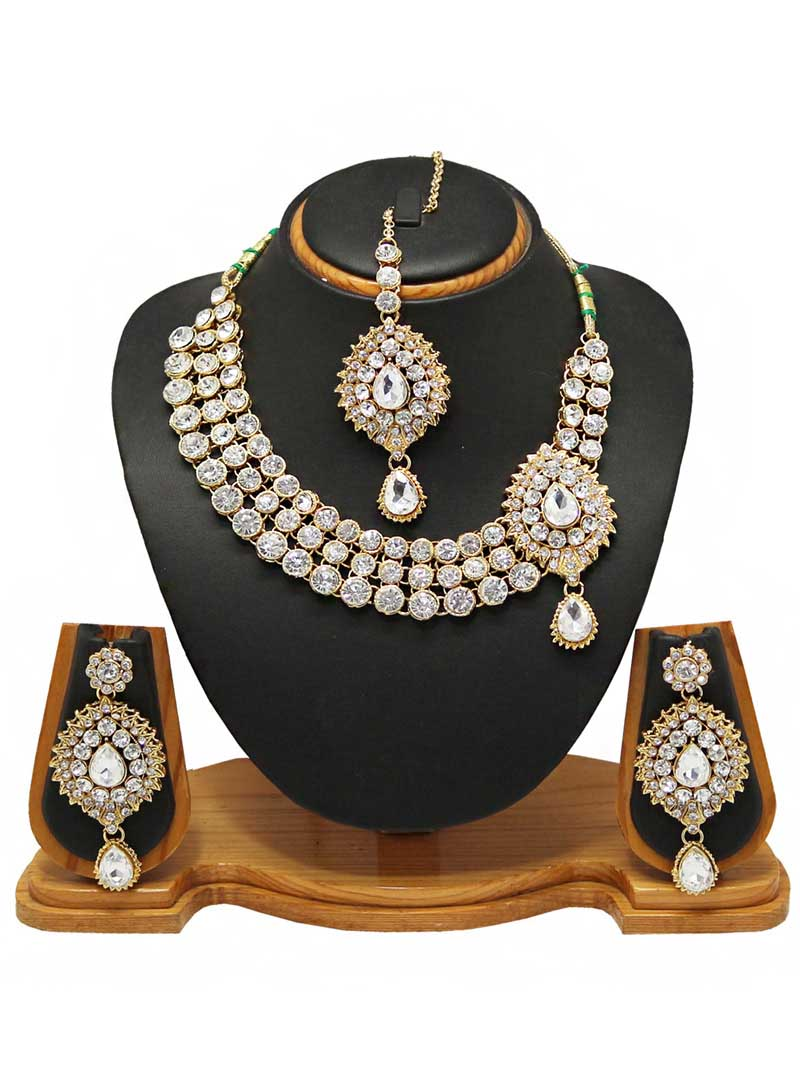 White Alloy Austrian Diamonds Necklace With Earrings and Maang Tikka 66094