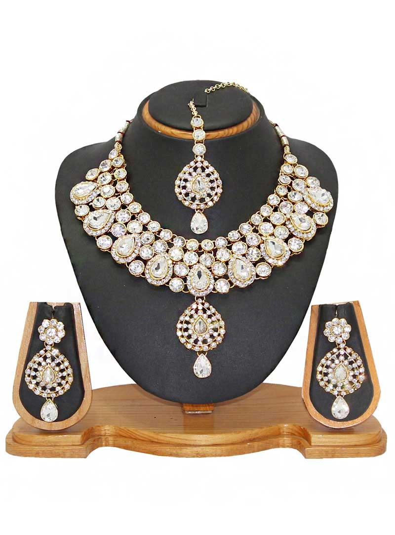 White Alloy Austrian Diamonds Necklace With Earrings and Maang Tikka 66095
