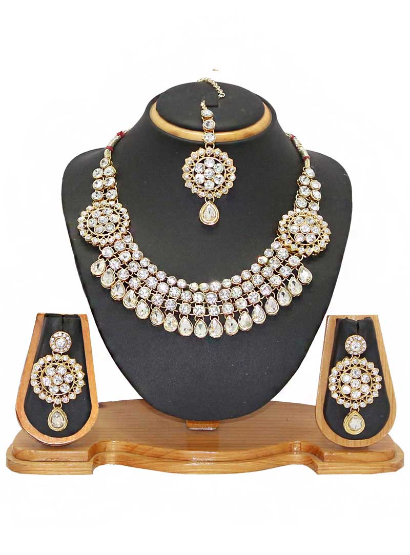 White Alloy Austrian Diamonds Necklace With Earrings and Maang Tikka 66097