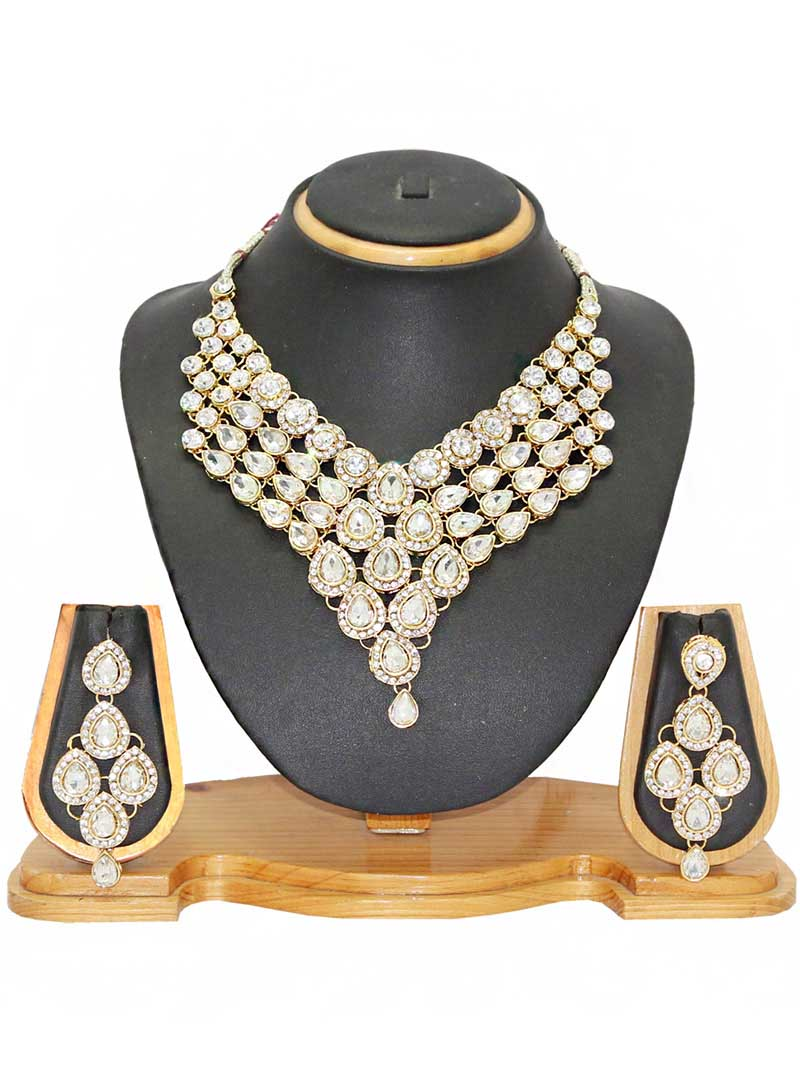 White Alloy Austrian Diamonds Necklace With Earrings 66098
