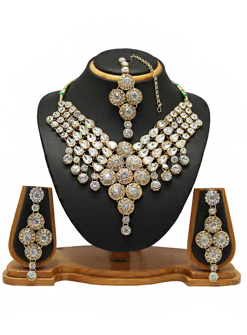 White Alloy Austrian Diamonds Necklace With Earrings and Maang Tikka 66099