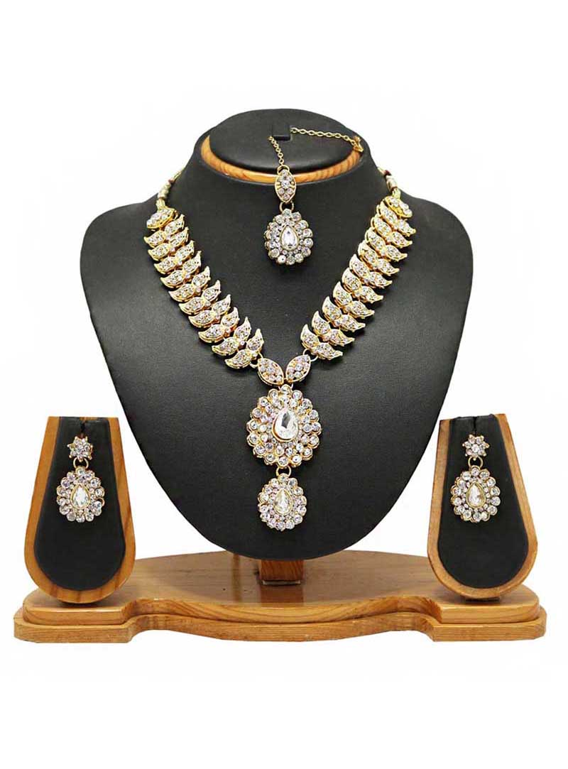 White Alloy Austrian Diamonds Necklace With Earrings and Maang Tikka 66100