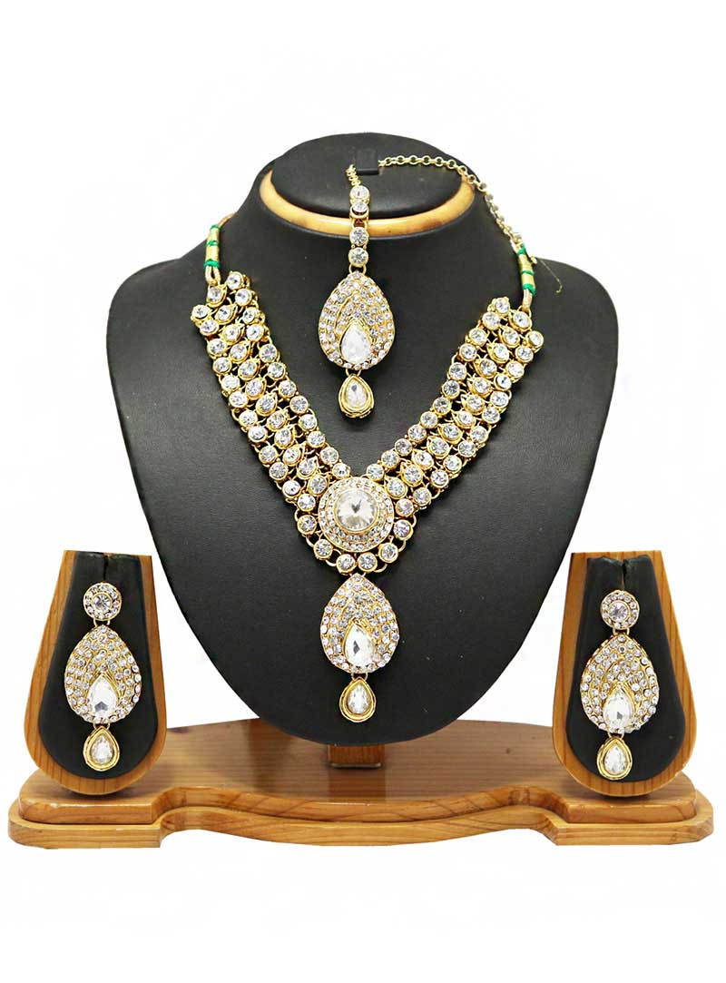 White Alloy Austrian Diamonds Necklace With Earrings and Maang Tikka 66101
