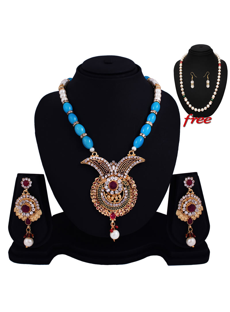 Blue Alloy Austrian Diamonds Light Set With Free Pearl Mala 89149