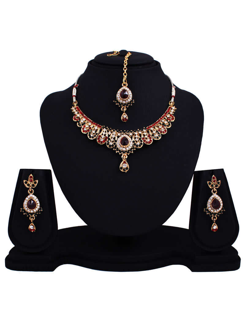 Maroon Alloy Austrian Diamonds Necklace With Earrings and Maang Tikka 89150