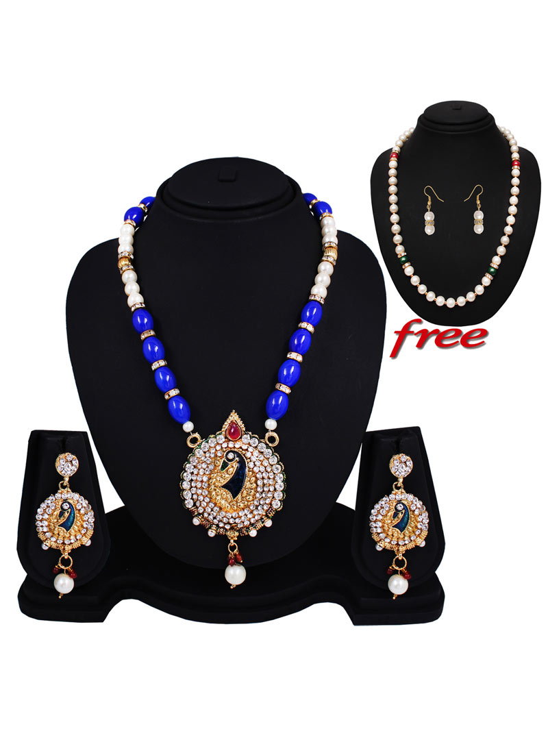 Blue Alloy Austrian Diamonds Light Set With Free Pearl Mala 89153