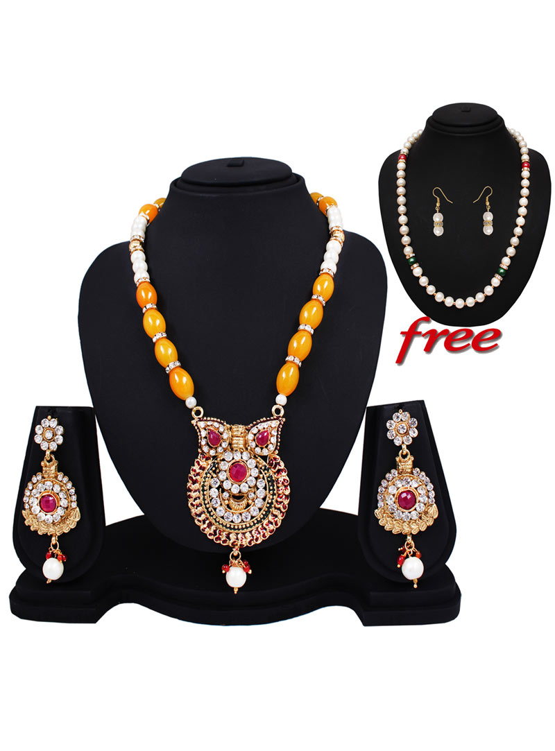 Yellow Alloy Austrian Diamonds Light Set With Free Pearl Mala 89154