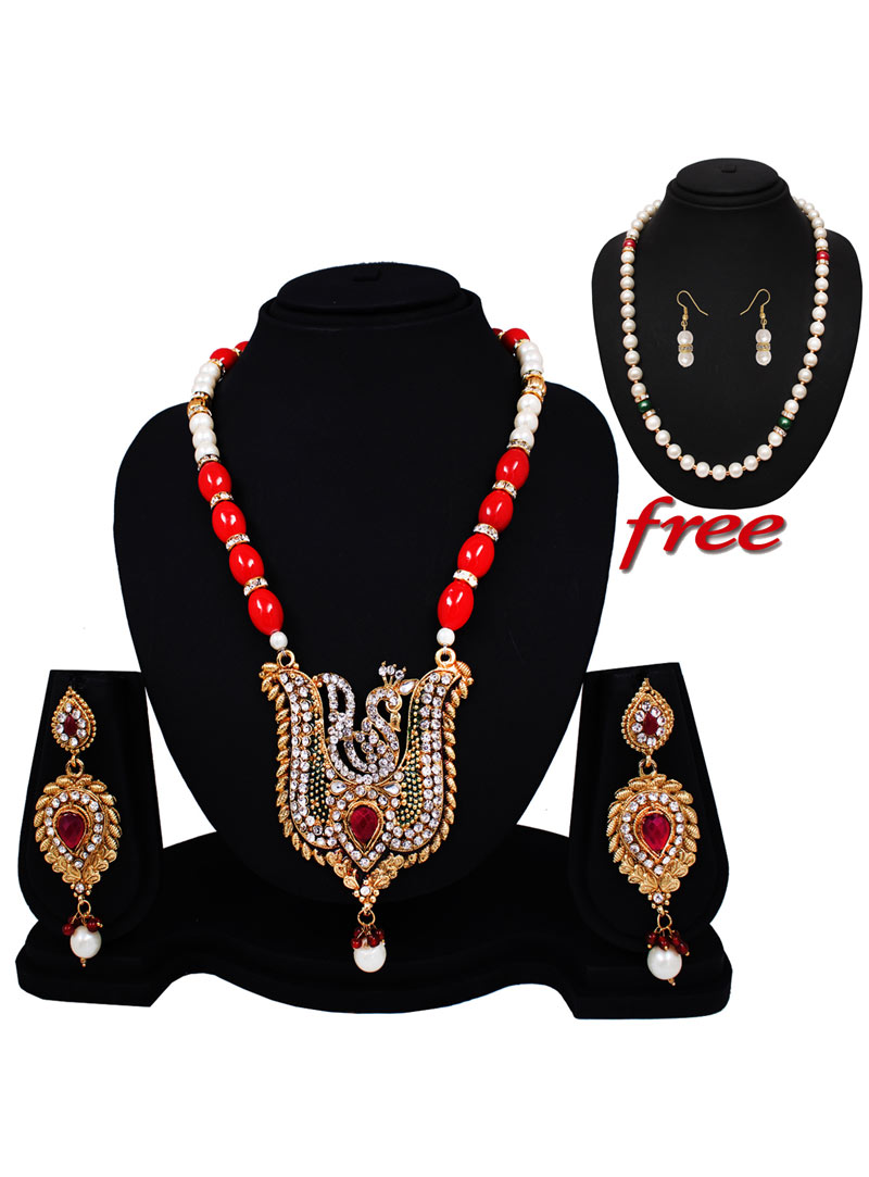 Red Alloy Austrian Diamonds Light Set With Free Pearl Mala 89155