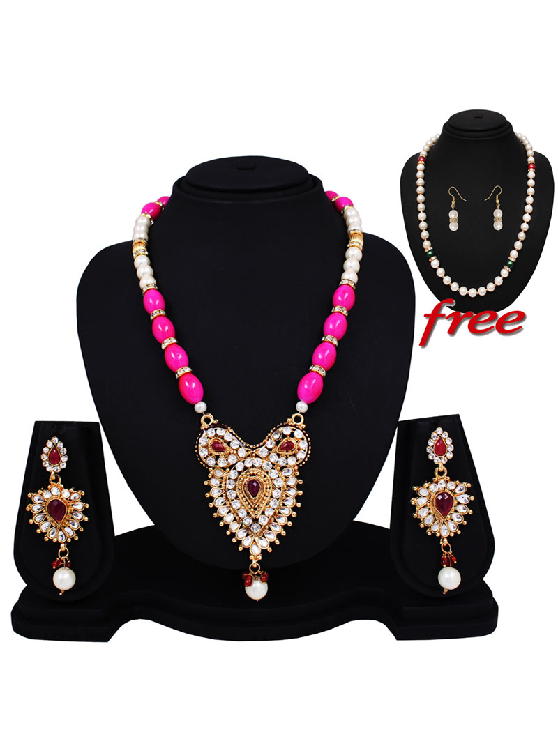 Pink Alloy Austrian Diamonds Light Set With Free Pearl Mala 89157