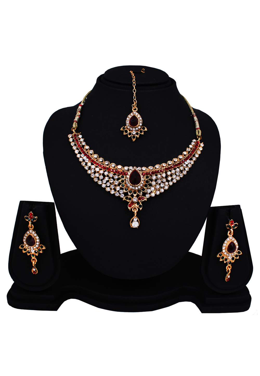 Maroon Alloy Austrian Diamonds Light Set With Maang Tikka 89158