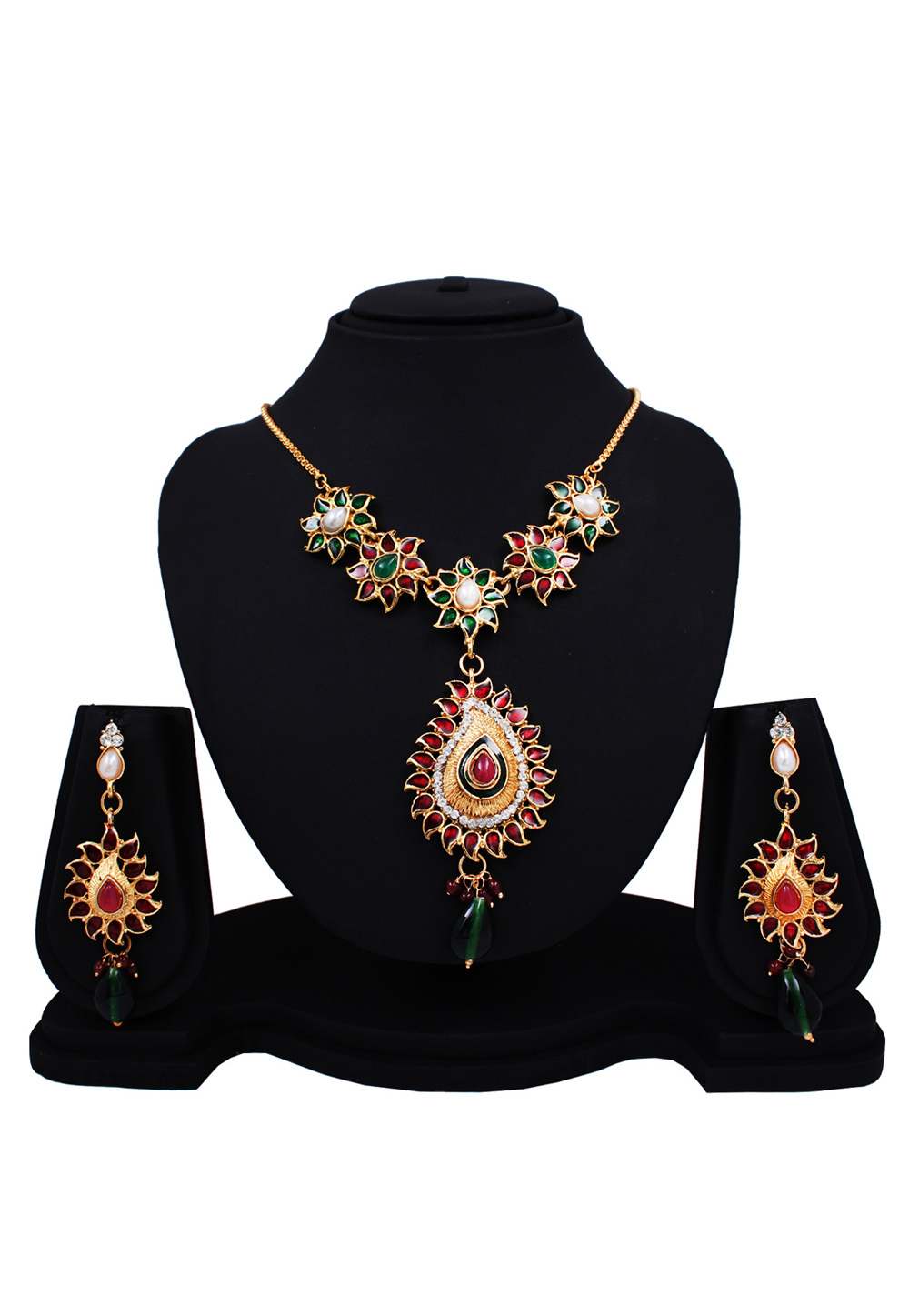 Maroon Alloy Austrian Diamonds Light Set With Maang Tikka 89159