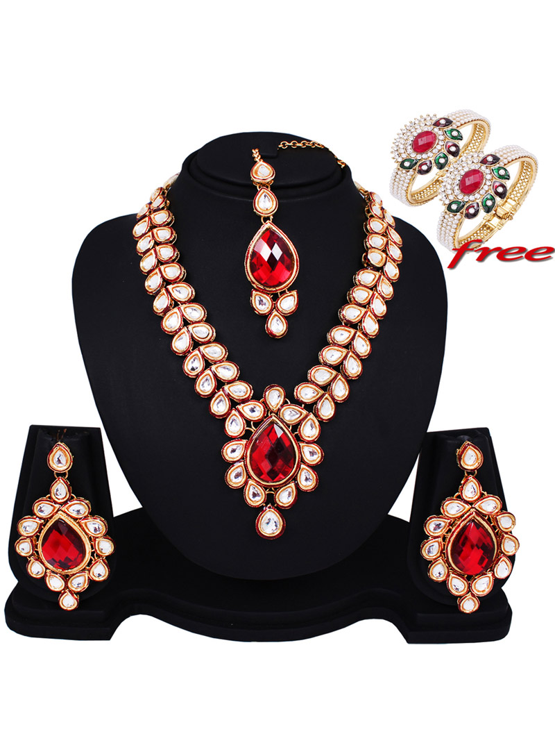 Red Alloy Kundan Light Set With Free Alloy Pearl Designer Kada 89163