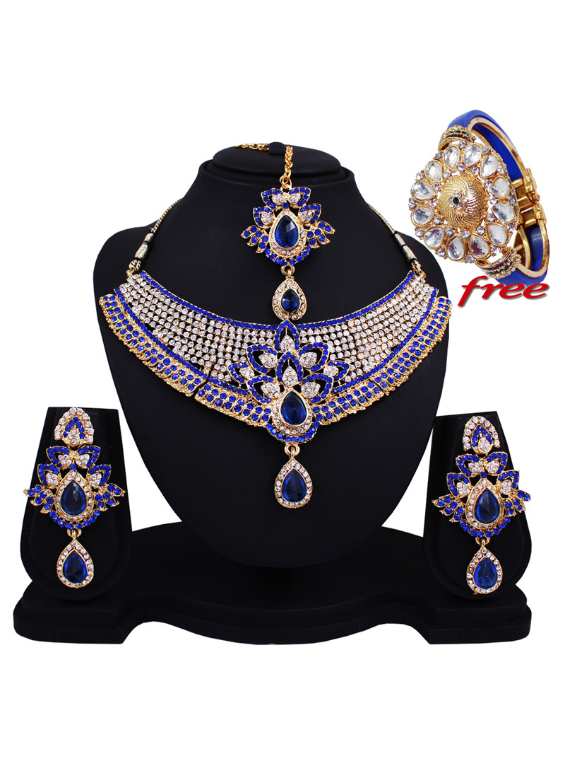 Blue Alloy Austrian Diamonds Heavy Set With Free Alloy Kundan Kada 89167