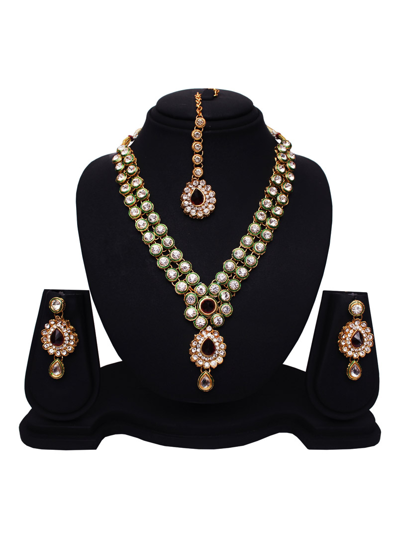 Green Alloy Cubic Zirconia Necklace With Earrings and Maang Tikka 89168