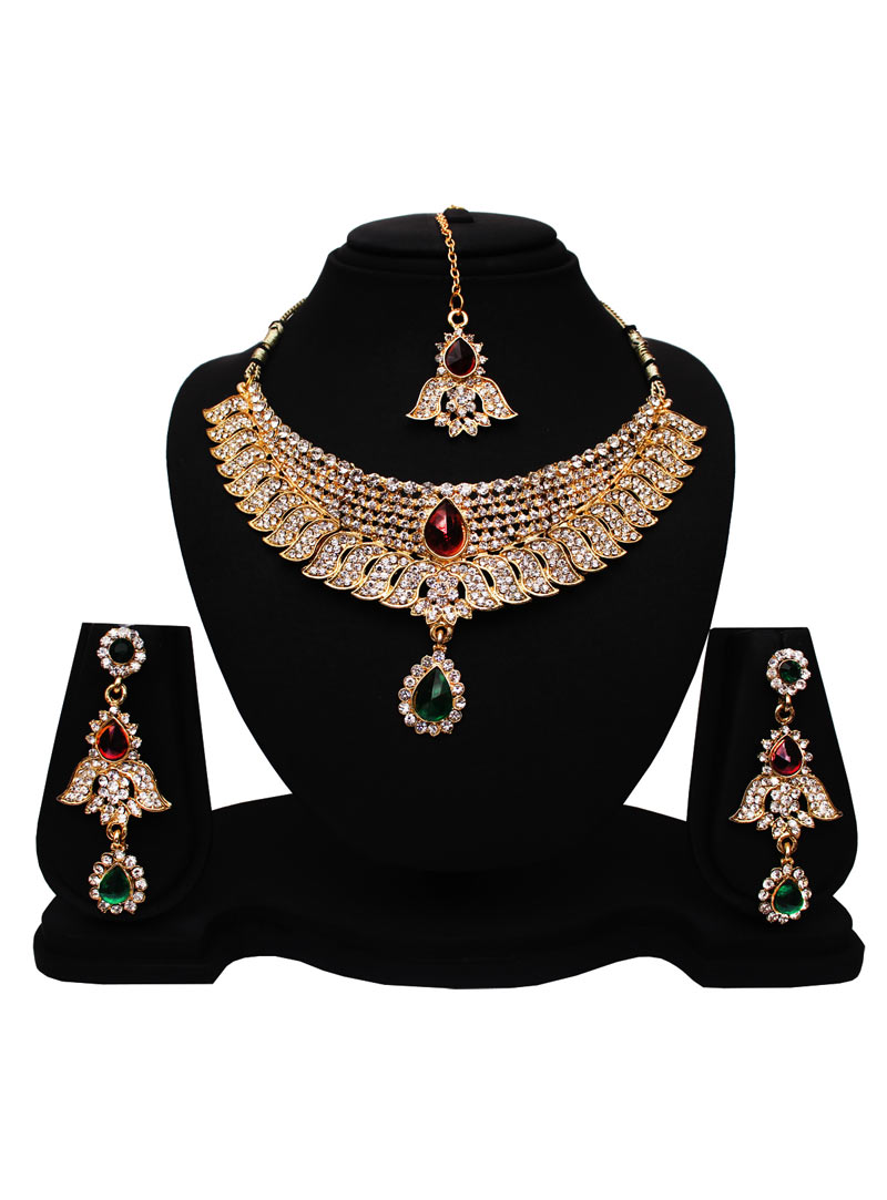 Green Alloy Austrian Diamonds Necklace With Earrings and Maang Tikka 89174