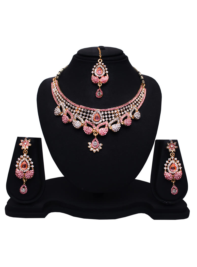Pink Alloy Austrian Diamonds Necklace With Earrings and Maang Tikka 89180