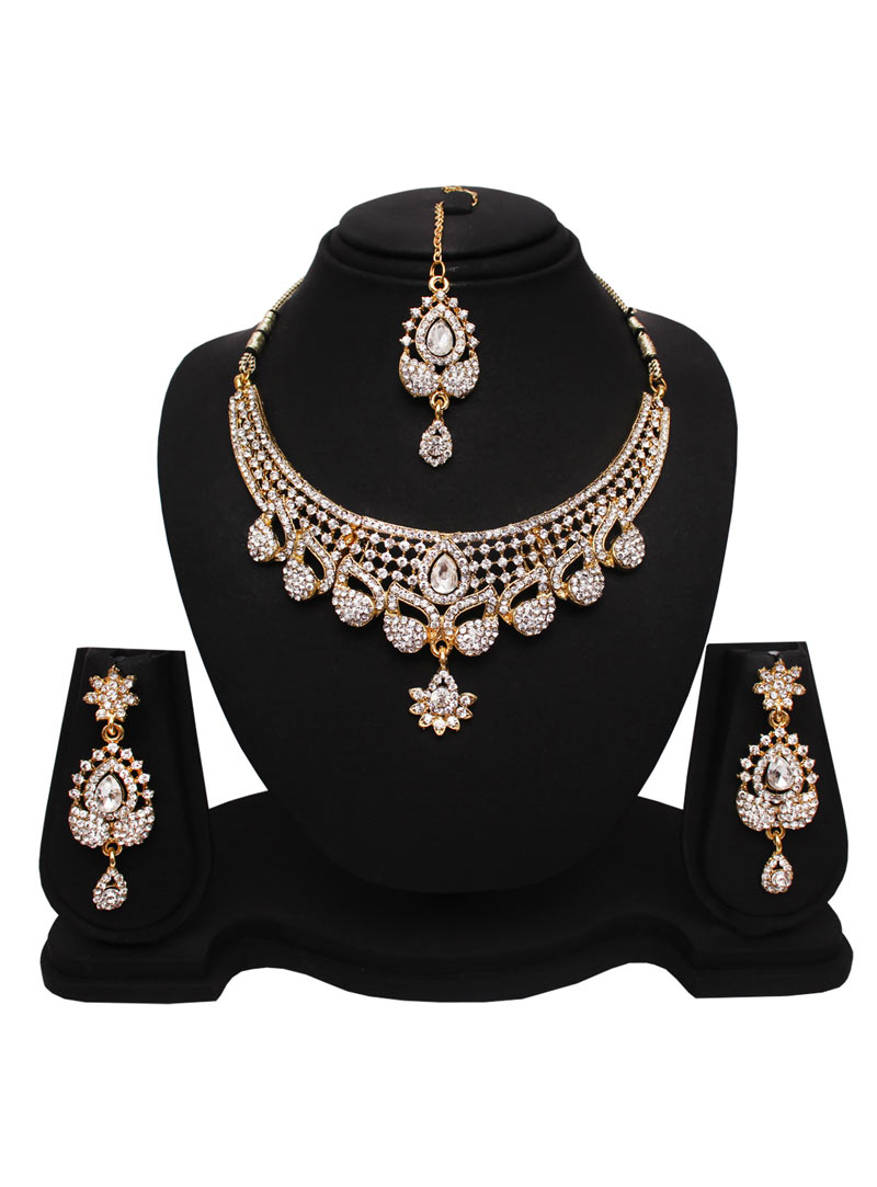 White Alloy Austrian Diamonds Necklace With Earrings and Maang Tikka 89182