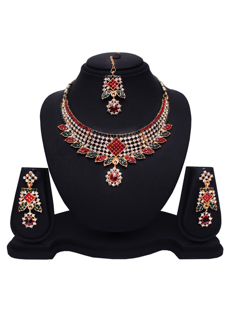 Maroon Alloy Austrian Diamonds Necklace With Earrings and Maang Tikka 89183