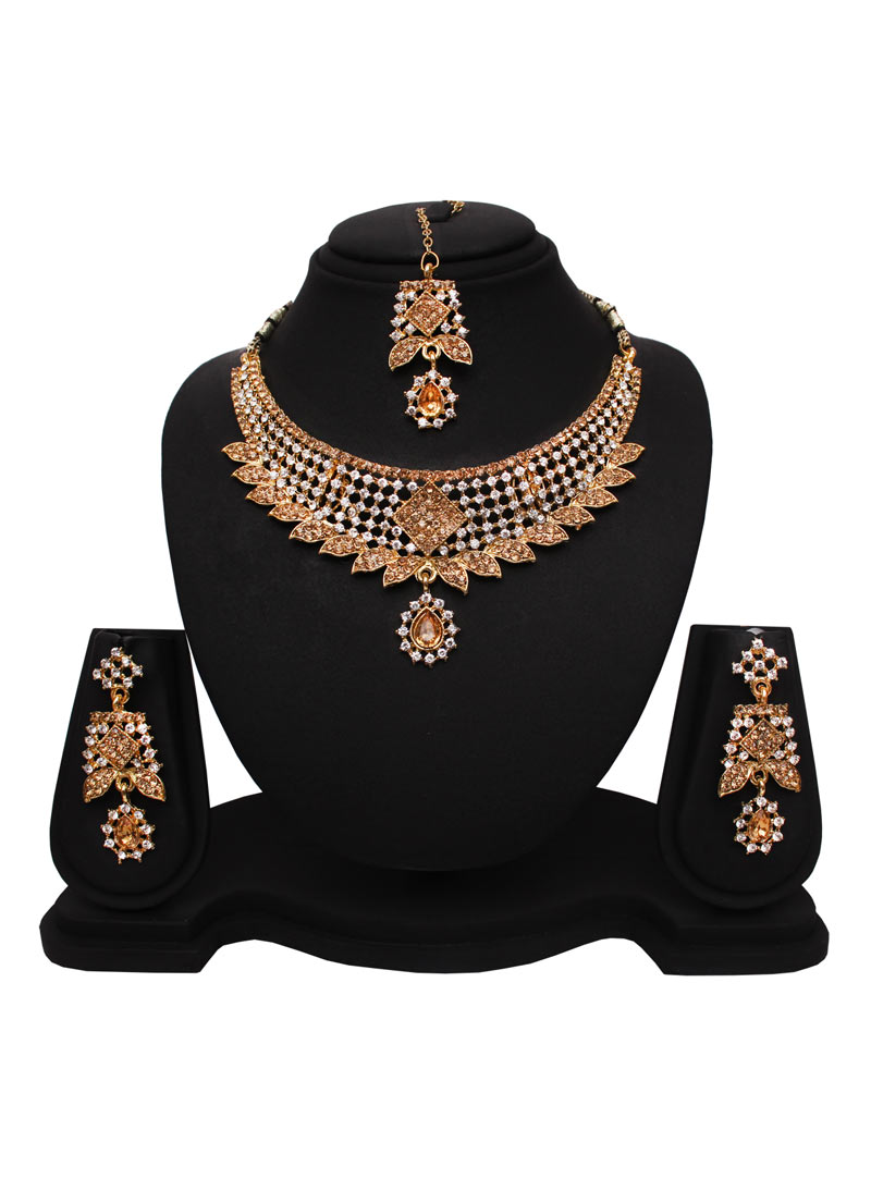 Golden Alloy Austrian Diamonds Necklace With Earrings and Maang Tikka 89185
