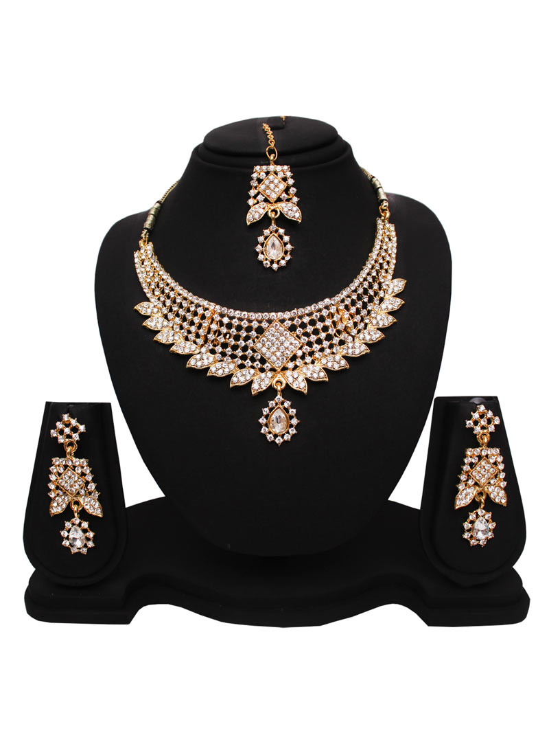 White Alloy Austrian Diamonds Necklace With Earrings and Maang Tikka 89186