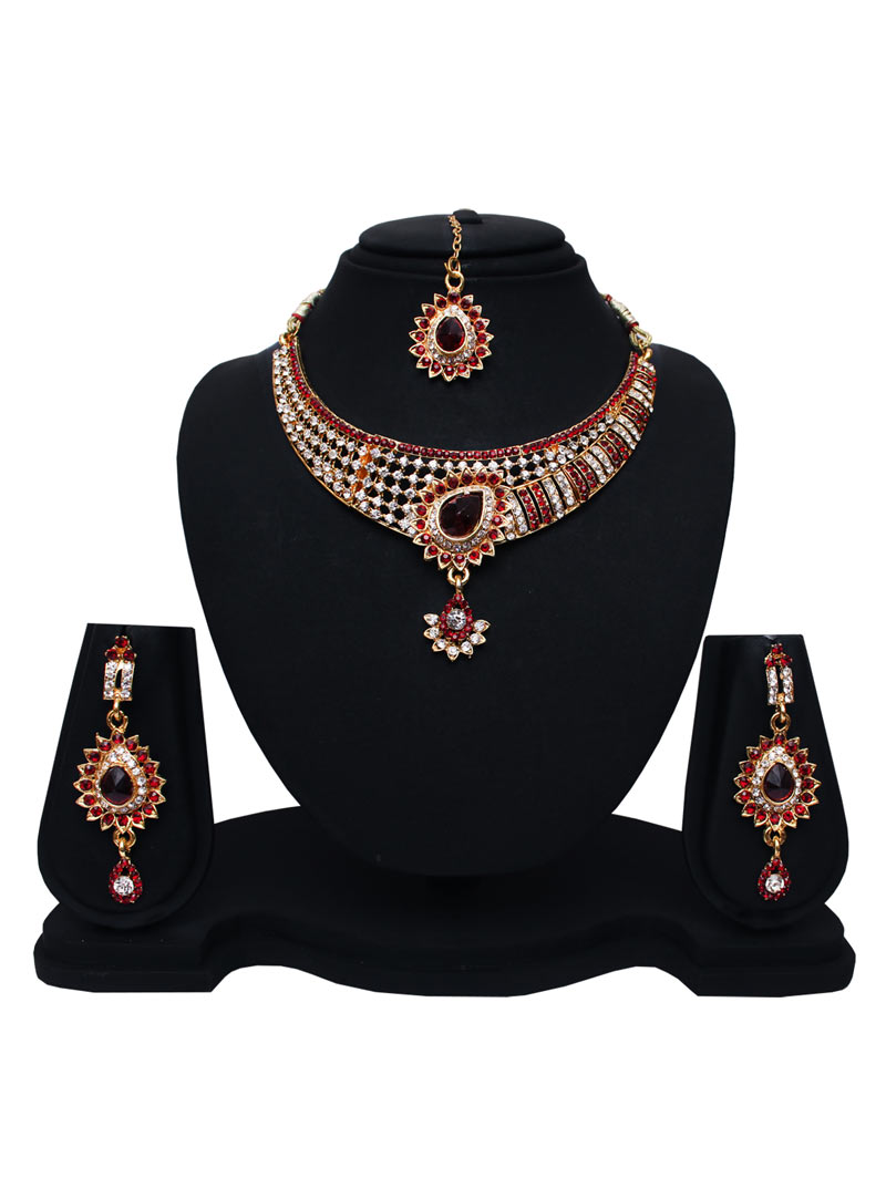 Maroon Alloy Austrian Diamonds Necklace With Earrings and Maang Tikka 89187