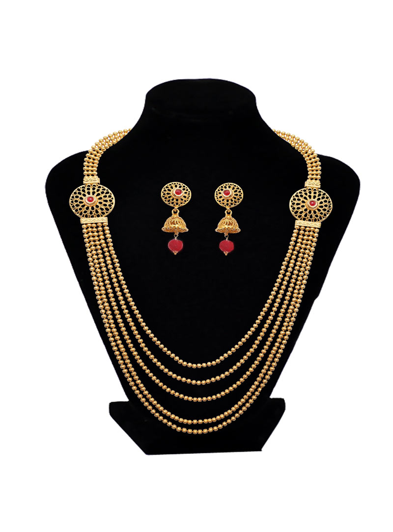 Golden Brass Ruby Necklace With Earrings 89189