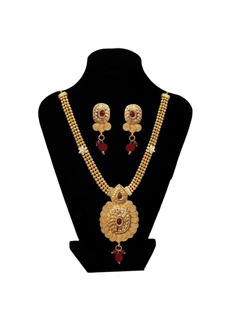 Golden Brass Ruby Necklace With Earrings 89191