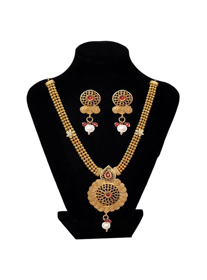 Golden Brass Ruby Necklace With Earrings 89192