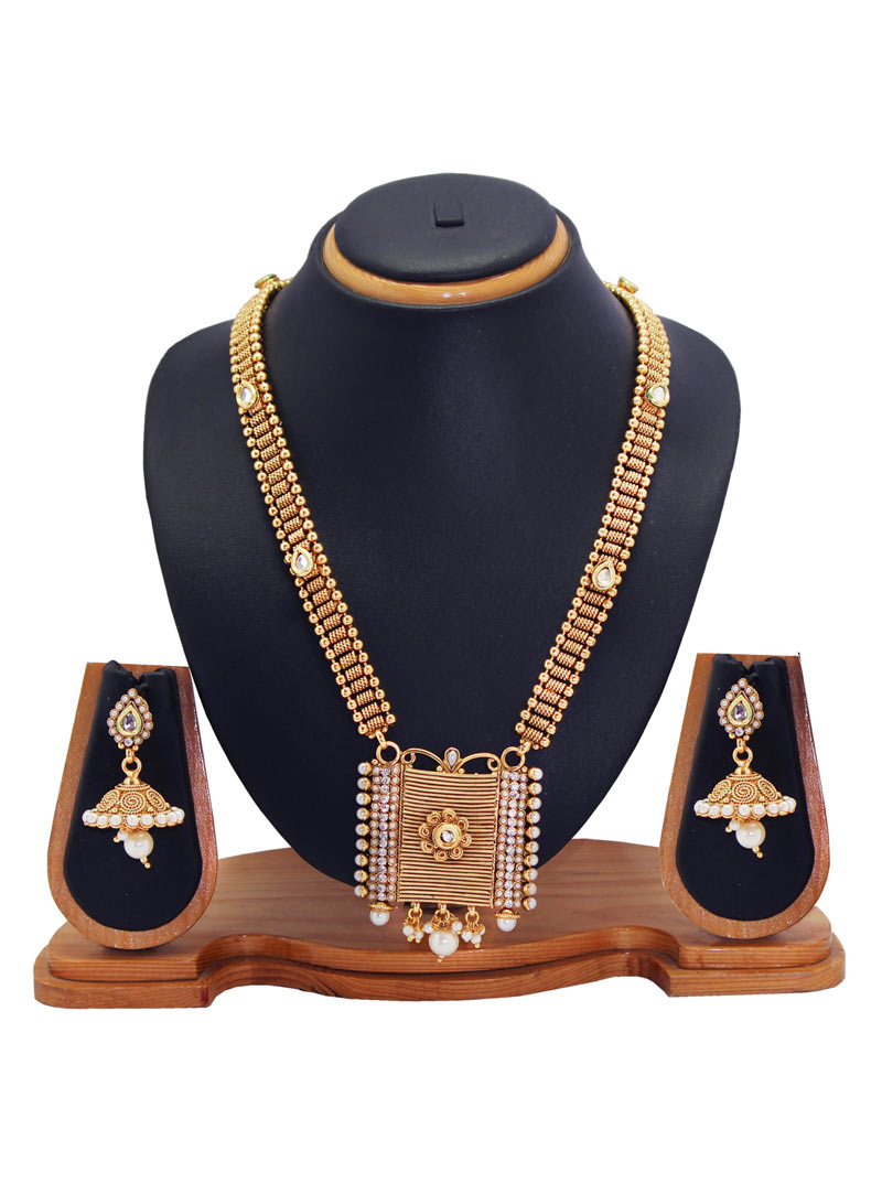 Golden Alloy Cubic Zirconia Necklace With Earrings 89193